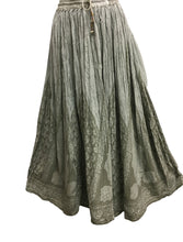 Indian Ethnic Print Embroidered Crinkle Long Broomstick Skirt No108 - Ambali Fashion