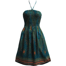 Halter Neck Peacock Print Mid-Length Tube Cotton Sun Dress THNONA2 - Ambali Fashion
