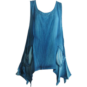 Missy Plus Bohemian Sleeveless Two Pocket Tunic Cami Tank Top Blouse Pigment - Ambali Fashion