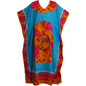 Missy Plus Bohemian Tie-Dye Butterfly Beach Kaftan Maxi Dress Turquoise - Ambali Fashion