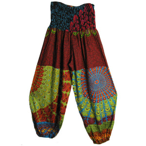 Gauze Gypsy Patchwork Bohemian Harem Pants (Multicolor Peacock Mandala Print) - Ambali Fashion