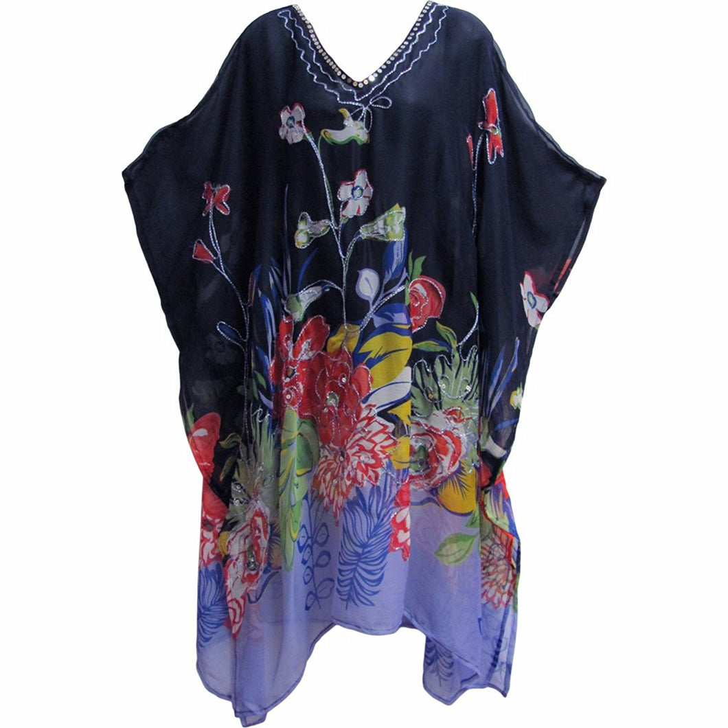 Missy Plus Indian Sequined Chiffon Cover Up Caftan Poncho Navy Blue Floral JK #15 - Ambali Fashion