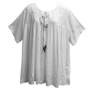Missy Plus Bohemian Embroidered Short Sleeve Gauze Cotton Peasant Top Blouse - Ambali Fashion