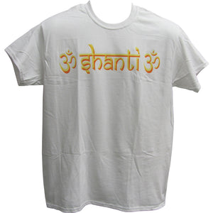 Men's Om Shanti Om Casual Cotton Short Sleeve White Yoga Shirt T-Shirt - Ambali Fashion