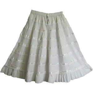 Women's Three-Tier Bohemian Cotton Mid Length White Lace Skirt - Ambali Fashion