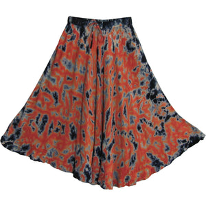 Bohemian Tie-Dye Embroidered Gypsy Ruffled Mid Length Skirt Zena - Ambali Fashion