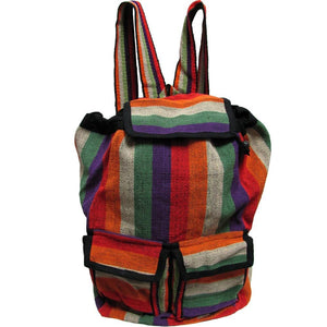 Handmade Woven Hippie Red & Orange Stripe Sling Himalayan Hemp Backpack Large - Ambali Fashion