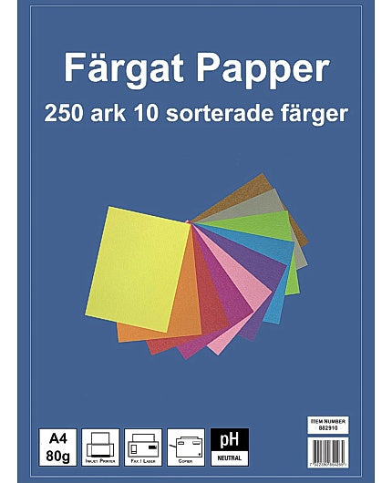 Kopieringspapper Mix 10 färger, 80g, 250 ark