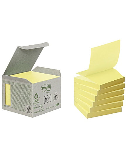 Notes POST-IT Z-block 76x76mm gul 6/FP