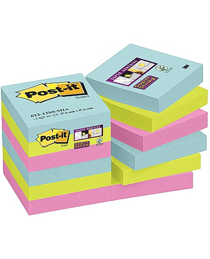 Post-it Supersticky Miami, 47.6x47.6mm, 12/FP