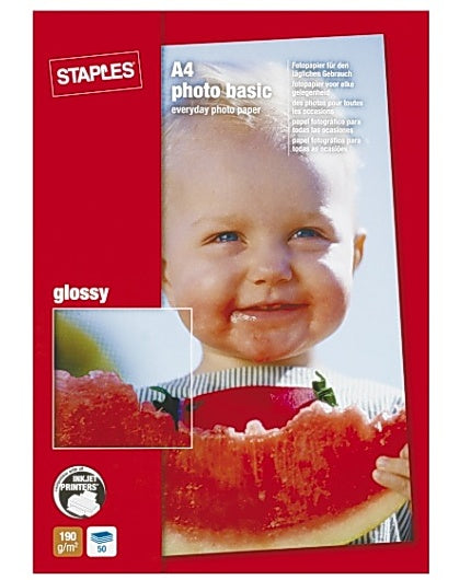 Fotopapper STAPLES Basic A4 glossy 50/FP