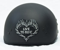 Rhinestone Helmet Patch Live To Ride Heart