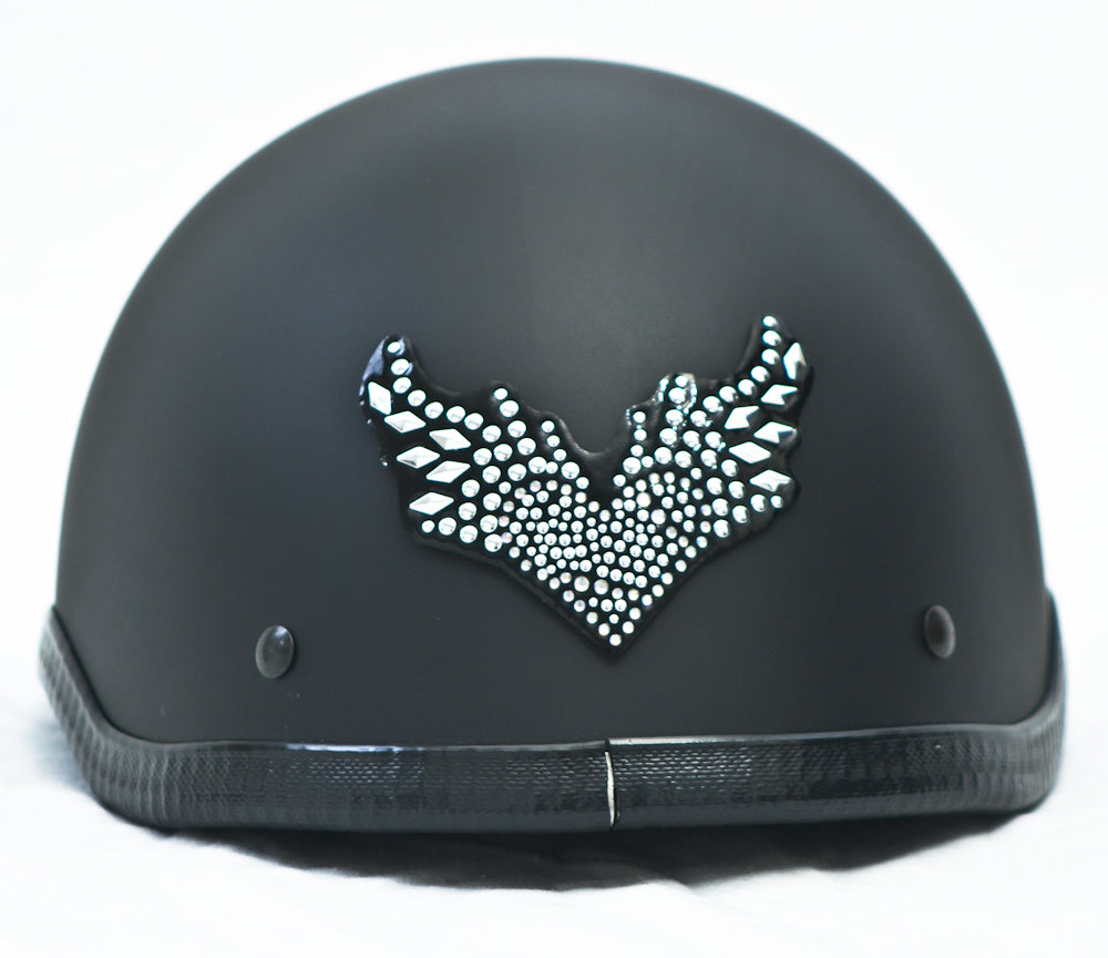 Rhinestone Helmet Patch Flying Heart