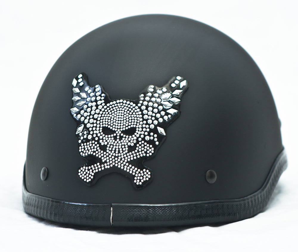 Rhinestone Helmet Patch Winged Skull