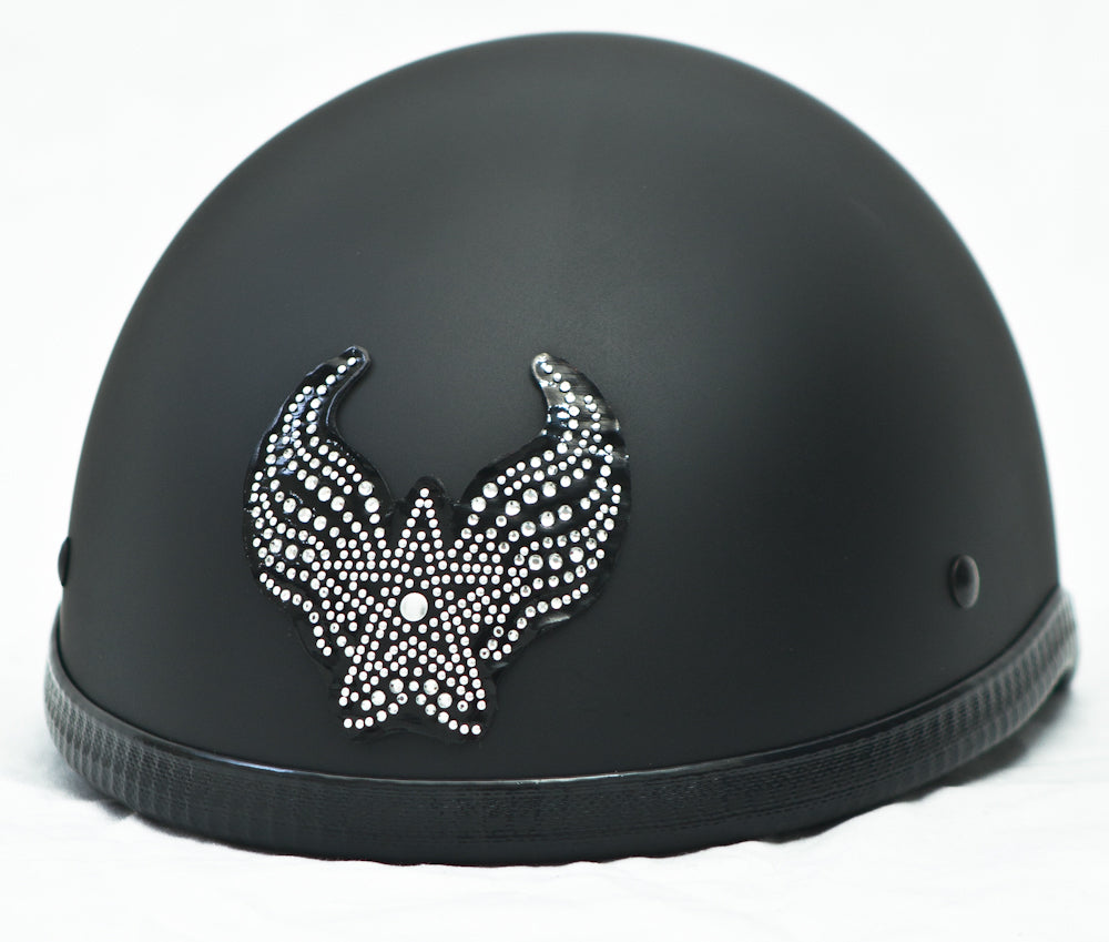 Rhinestone Helmet Patch Small Winged Star