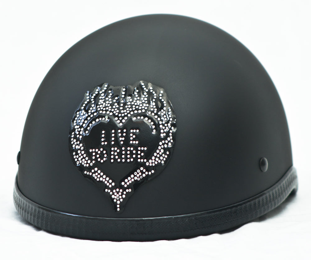 Rhinestone Helmet Patch Small Live To Ride Heart