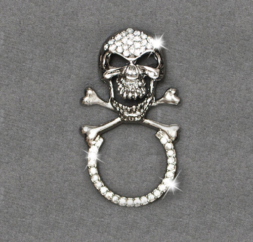 Sunglass Holder Pin Rhinestone Skull