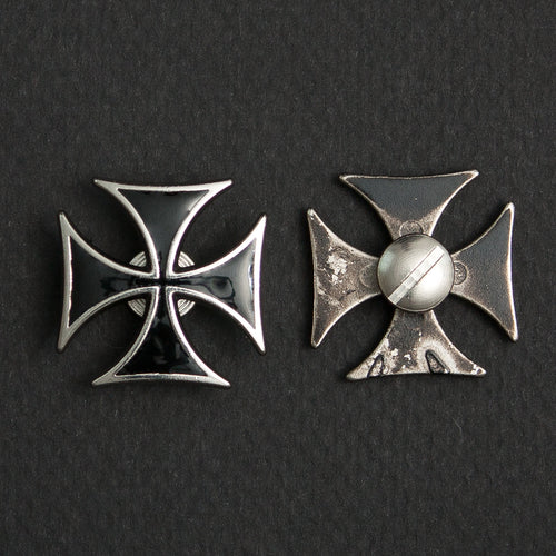 Screw On Concho Black Iron Cross (pair)