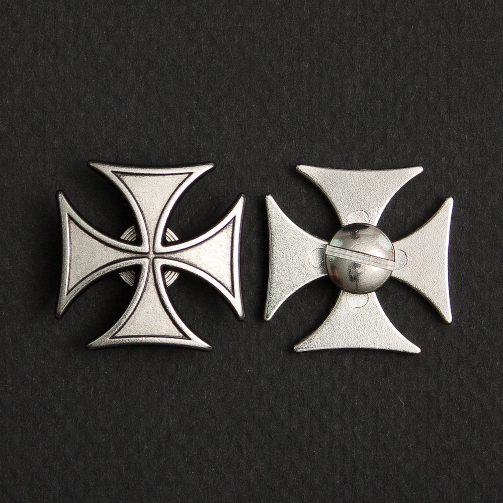 Screw On Concho Silver Iron Cross (pair)