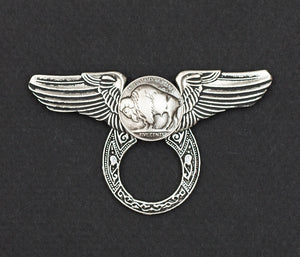Sunglass Holder Pin Winged Buffalo Nickle