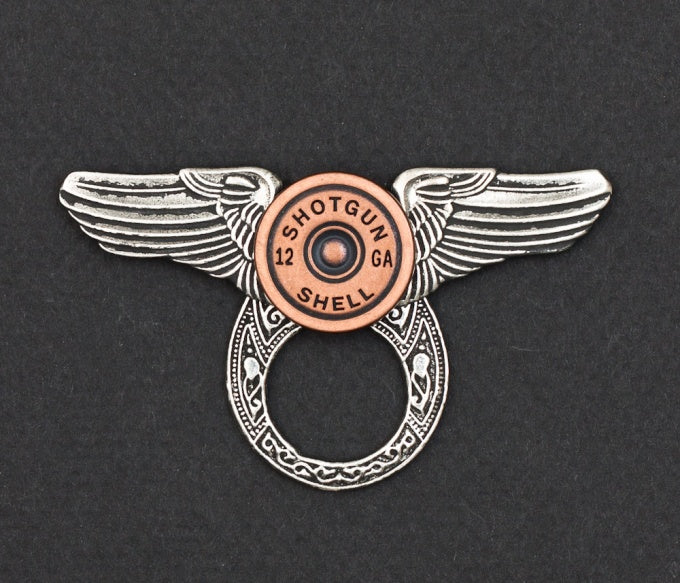 Sunglass Holder Pin Winged Shotgun Shell