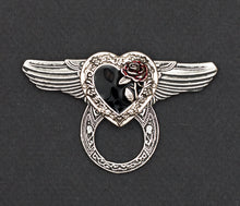 Sunglass Holder Pin Winged Black Heart Red Rose