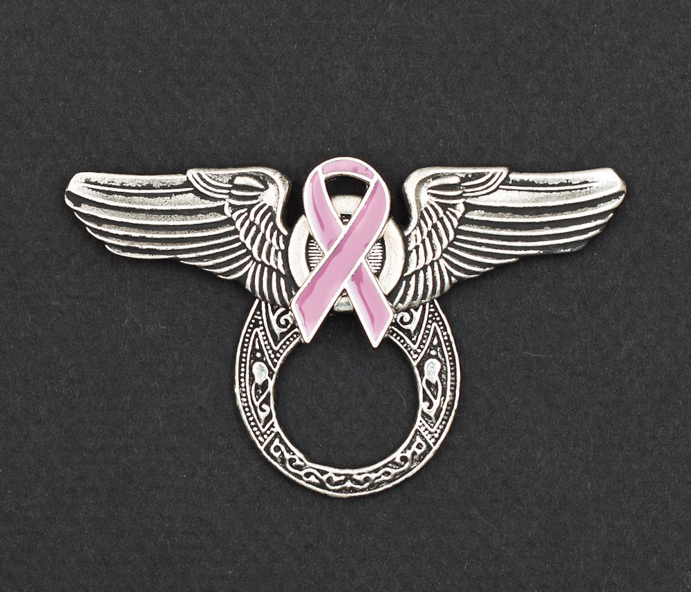 Sunglass Holder Pin Winged Pink Ribbon