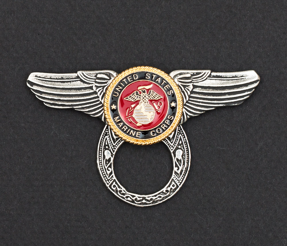 Sunglass Holder Pin Winged Color Marine Corps