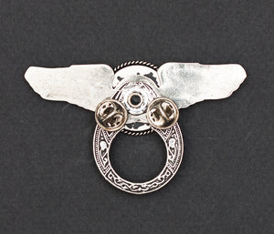 Sunglass Holder Pin Winged Silver Heart