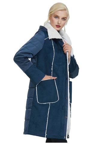 Women's Blue Suede Leather Parka Jacket