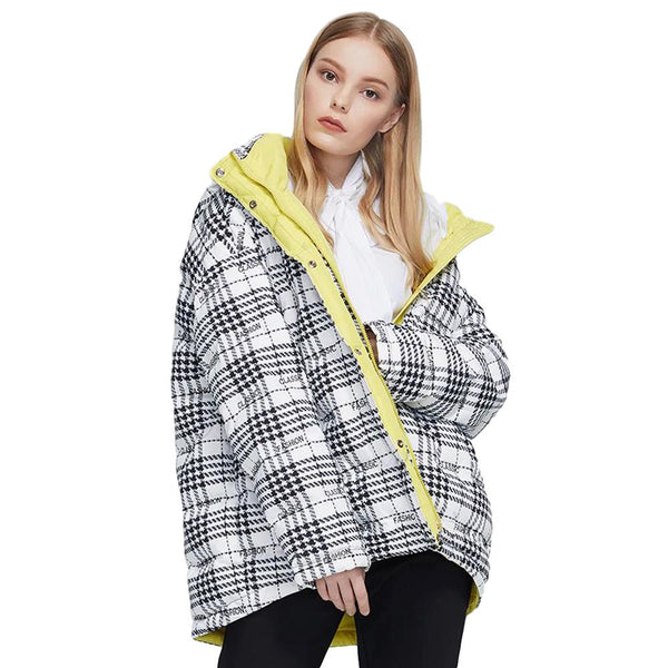 Short Hooded Thick Plaid Parka Winter Jacket