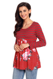 Floral Striped Babydoll Tunic - Arista Gems