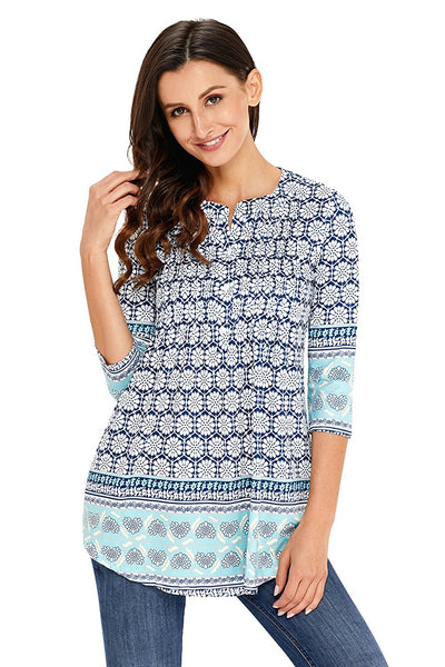 White Floral Notch Neck Pin-tuck Tunic