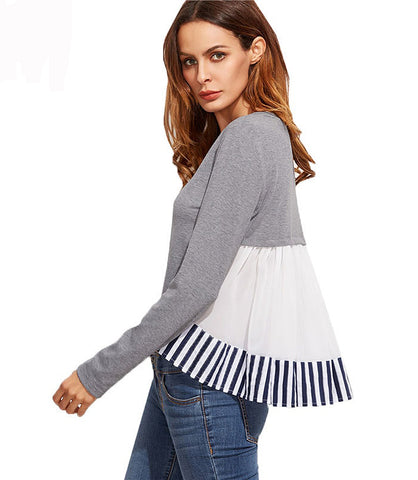 Striped Ruffle Back High Low Casual Top