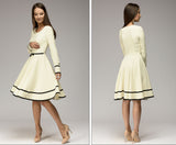 simple A-line O-neck long sleeve knee-length dress - seraie
