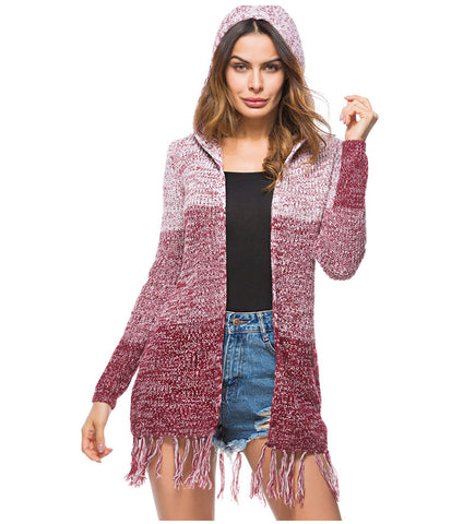 Taria Sweet Knitted Long Hooded Cardigan