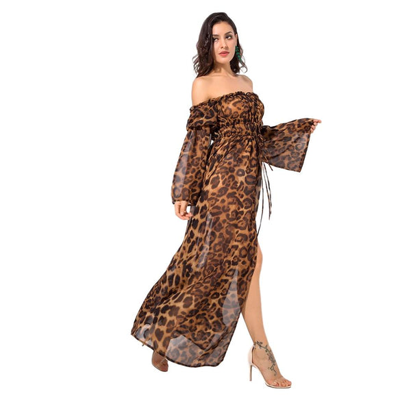 Off Shoulder Leopard Dress - Arista Gems