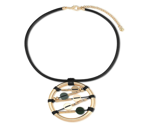 Black Leather Rope Handcrafted Big Circle Pendant Necklace - Arista Gems