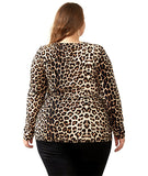 Leopard Print Deep V Neck Long Sleeve Tunic Top - Arista Gems