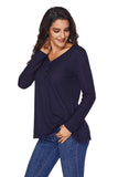Women's V Neck Buttoned Blue Tunic - Arista Gems