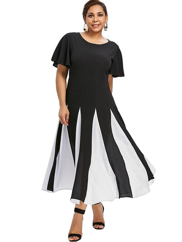 Black and White Patchwork Chiffon Bell Flare Sleeve Dress - Arista Gems