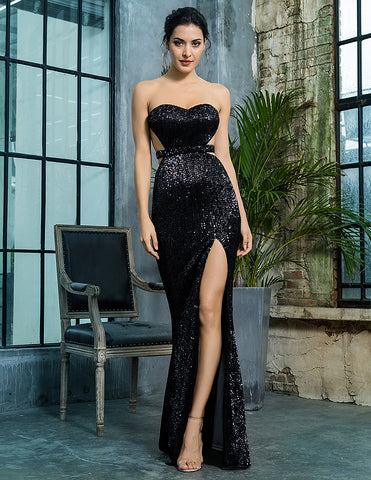 Black Open Back Sequins Dress - Arista Gems