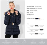 Women's Belted Hooded Winter Coat - Arista Gems
