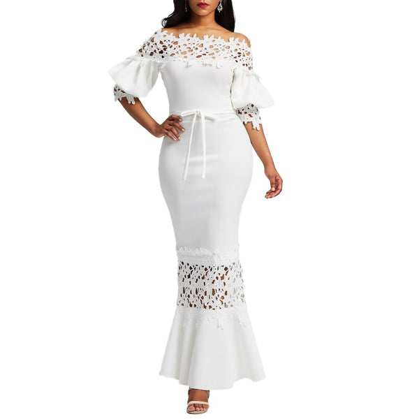 White Lace Mermaid Dress - Arista Gems
