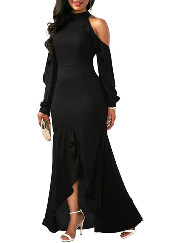 Asymmetric Hem Cold Shoulder Black Dress - Arista Gems