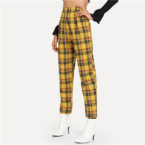 Plaid Mid Waist Tapered Trousers