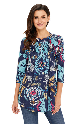 Floral Notch Neck Pin-tuck Tunic - Arista Gems