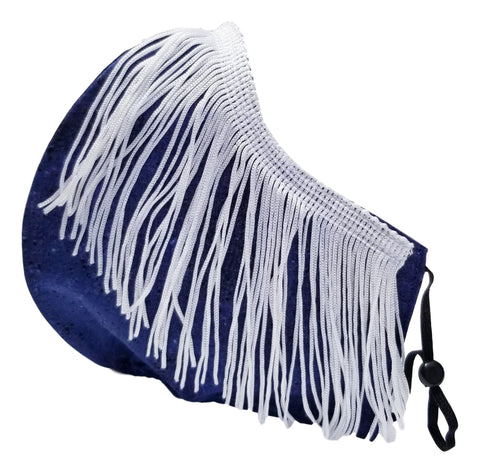 MIDNIGHTDANCE-Blue And White Fringe Party Face Mask