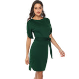 Knitted Split Batwing Sleeve Mini Dress - Arista Gems