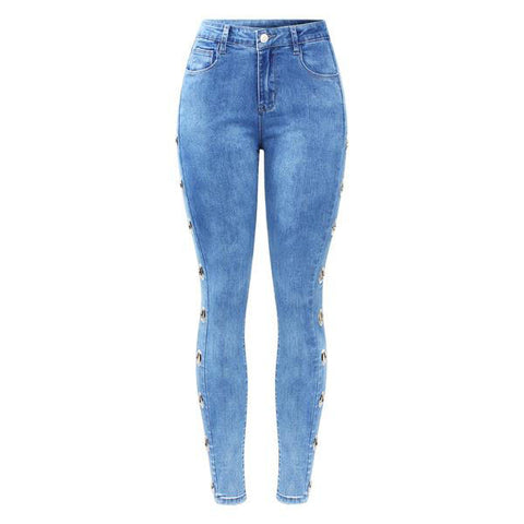 Stretchy Side Eyelets Studded Women`s Skinny Jeans - Arista Gems
